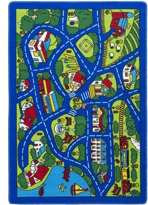 "Zoomie Kids Staton City Street Map Yellow Area Rug Rug Size: Rectangle 4'8"" x 7'1"""