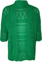 FashionMark Plus Size Women's Crochet Knitted Shrug Cardigan (Teal)