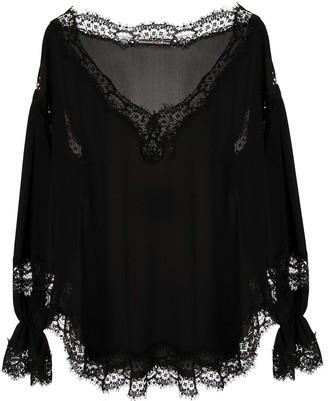 Ermanno Scervino long sleeve scalloped hem blouse