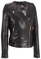 Wilsons Leather Womens Plus Size Collarless Leather Cycle Jacket