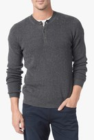 7 For All Mankind Ribbed Sweater Henley In Heather Charcoal