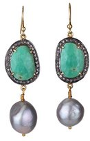 Katerina Psoma Women's 925 Sterling Silver Diamonds, Chrysoprase and Grey Pearls Earrings