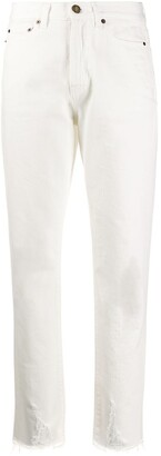 Saint Laurent Raw-Edge Straight Leg Jeans