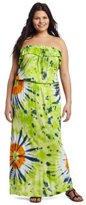 Southpole Juniors Plus Size Strapless Tye Dye Ruffle Accent Neckline Maxi Dress