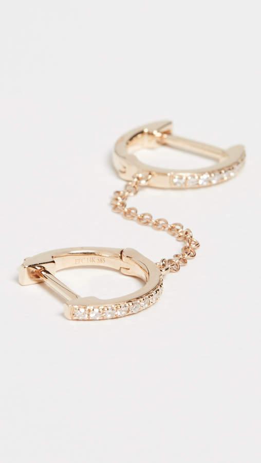 Ef Collection 14k Diamond Double Huggie Chain Earring