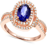Effy Final Call Diffused Ceylon Sapphire (1-3/8 ct. t.w.) and Diamond (1/3 ct. t.w.) Ring in 14k Rose Gold