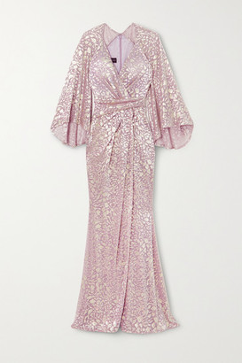 Talbot Runhof Bologne Metallic Leopard-jacquard Voile Gown - Pink