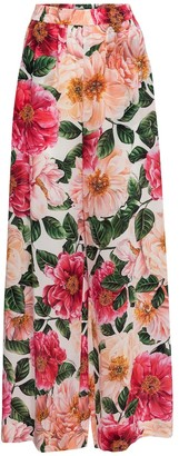 Dolce & Gabbana Floral wide-leg silk cady pants