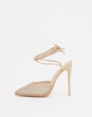 Public Desire Carina embellished heeled shoes with ankle ties