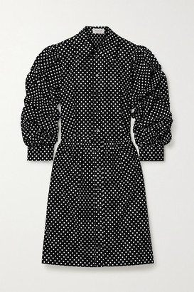 Michael Kors Polka-dot Cotton-poplin Mini Dress - Black
