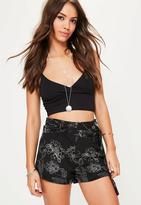 Missguided Floral Double Tie Belt Shorts