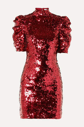 Alice + Olivia Brenna Sequined Tulle Mini Dress - Red