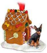 Mini A Ture MINIATURE PINCHER Dog Mini Pin Black and Tan NEW Resin GINGERBREAD HOUSE Christmas Ornament 57A