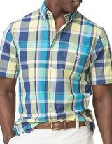 Chaps Big and Tall Short-Sleeve Plaid Poplin Shirt