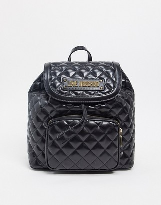 Love Moschino quilted backpack with front pocket in black