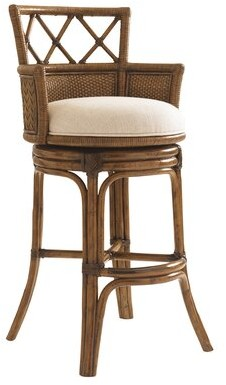 "Tommy Bahama Bali Hai Bar & Counter Swivel Stool Home Seat Height: Bar Stool (30"" Seat Height)"