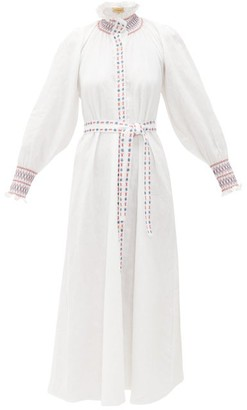 Muzungu Sisters - Alice Embroidered Belted Linen Shirt Dress - Womens - White
