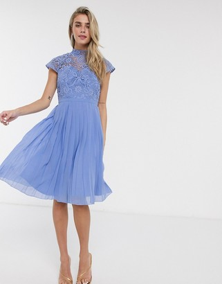 Chi Chi London Chi Chi Rozie lace detail midi dress in blue