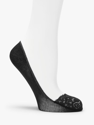 John Lewis & Partners Lace Trim Foot Socks, Black