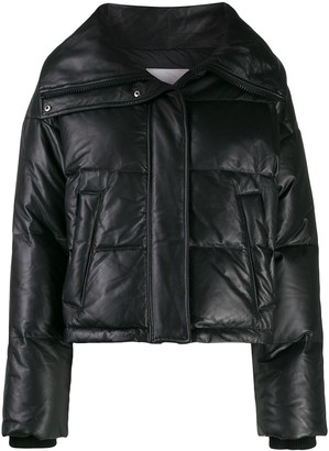Yves Salomon Army leather puffer jacket