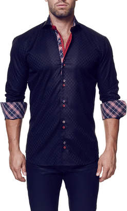 Maceoo Shaped-Fit Panam Long-Sleeve Dress Shirt, Black
