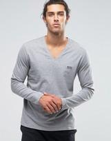 HUGO BOSS BOSS By V-Neck Long Sleeve Top In Regular Fit
