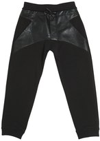 Armani Junior Faux Leather & Cotton Sweatpants