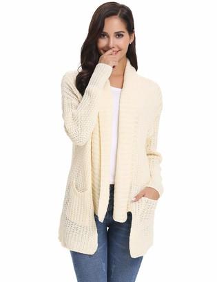 Abollria Waterfall Cardigan for Women Winter Lightweight Chunky Knitted Sweater Jumper Cardigan Beige