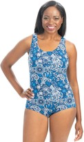 Santorini Dolfin Aquashape Print Conservative Lap Suit