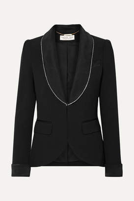 Rachel Zoe Tyler Crystal-embellished Satin-trimmed Crepe Blazer - Black