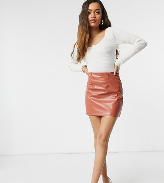 ASOS DESIGN Petite leather look super seam mini skirt in dark tan