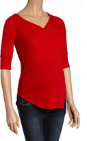 Red Ribbed Maternity Henley