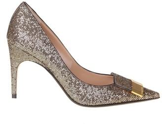Sergio Rossi Gold Glitter Fabric Decollete