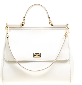 Dolce & Gabbana Off White Leather Large Miss Sicily Top Handle Bag