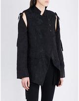Ann Demeulemeester Cutout-detailed brocade and linen and silk-blend jacket