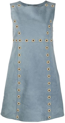 Alberta Ferretti Eyelet Embellished Suede Dress