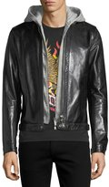 DSQUARED2 Leather Racer Jacket with Detachable Hoodie