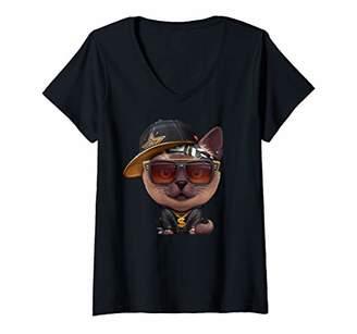 Womens Siamese Cat Hip-Hop Super Star V-Neck T-Shirt