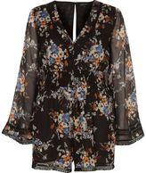 River Island Womens Black chiffon floral kimono romper