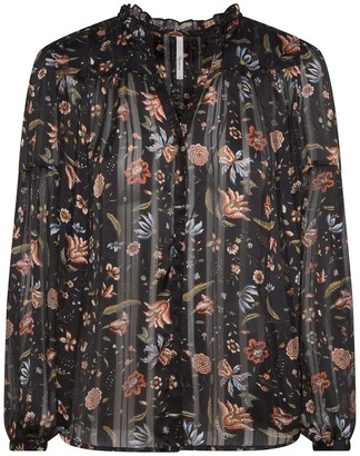 Pepe Jeans Ruffled Floral Print Blouse with Long Sleeves