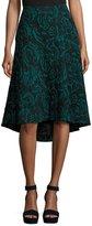 Catherine Malandrino Velvet Jacquard High-Low Skirt, Black Pattern