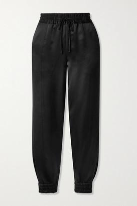 Derek Lam 10 Crosby Phoenix Hammered-satin Track Pants - Black