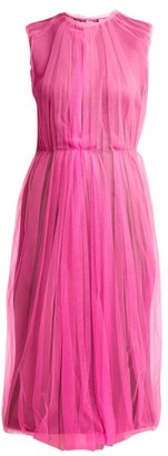 Prada Jersey And Tulle Dress - Womens - Pink Multi