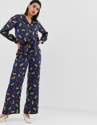 Neon Rose wide leg trousers in avocado print satin co-ord-Navy