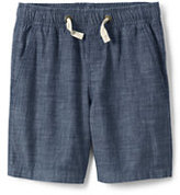 Lands' End Boys Husky Pull On Chambray Shorts-Nightshadow Blue Chambray