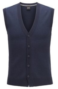 BOSS Knitted waistcoat in mixed-structure cotton