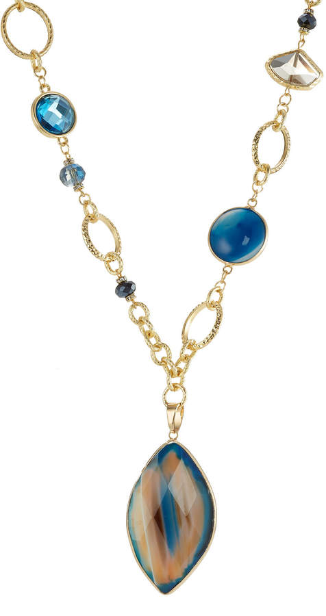 Kenneth Jay Lane Gilded Necklace with Faceted Stones