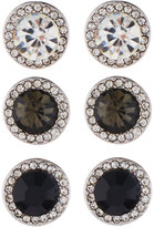 Fragments for Neiman Marcus Round Crystal Stud Earring Trio, Set of Three, Black