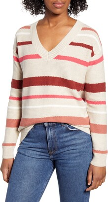 Caslon V-Neck Cotton Pique Sweater