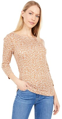Three Dots 3/4 Sleeve British Printed Tee (Mocha Leopard Print) Women's Clothing